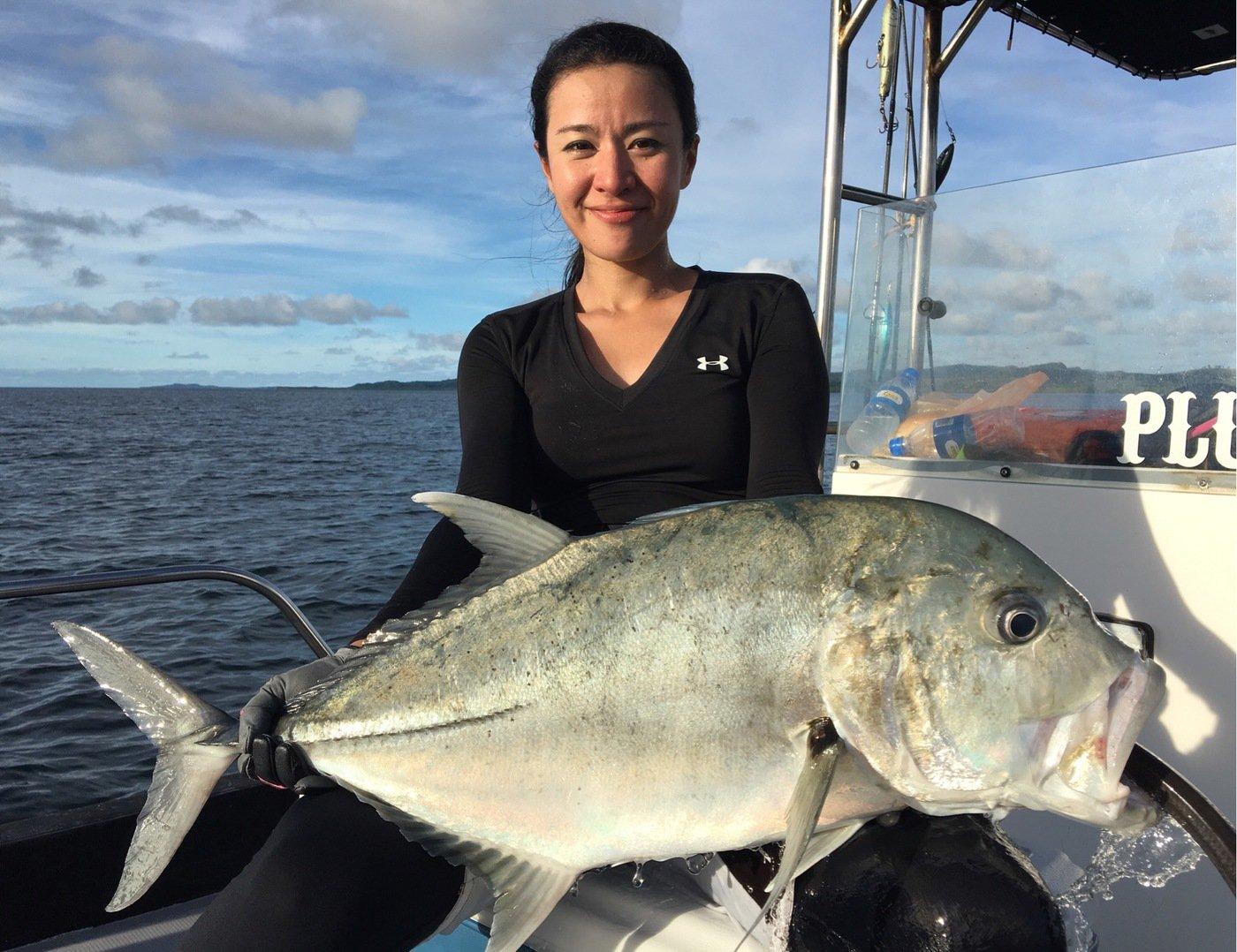 ユミさんの投稿画像,写っている魚はロウニンアジ