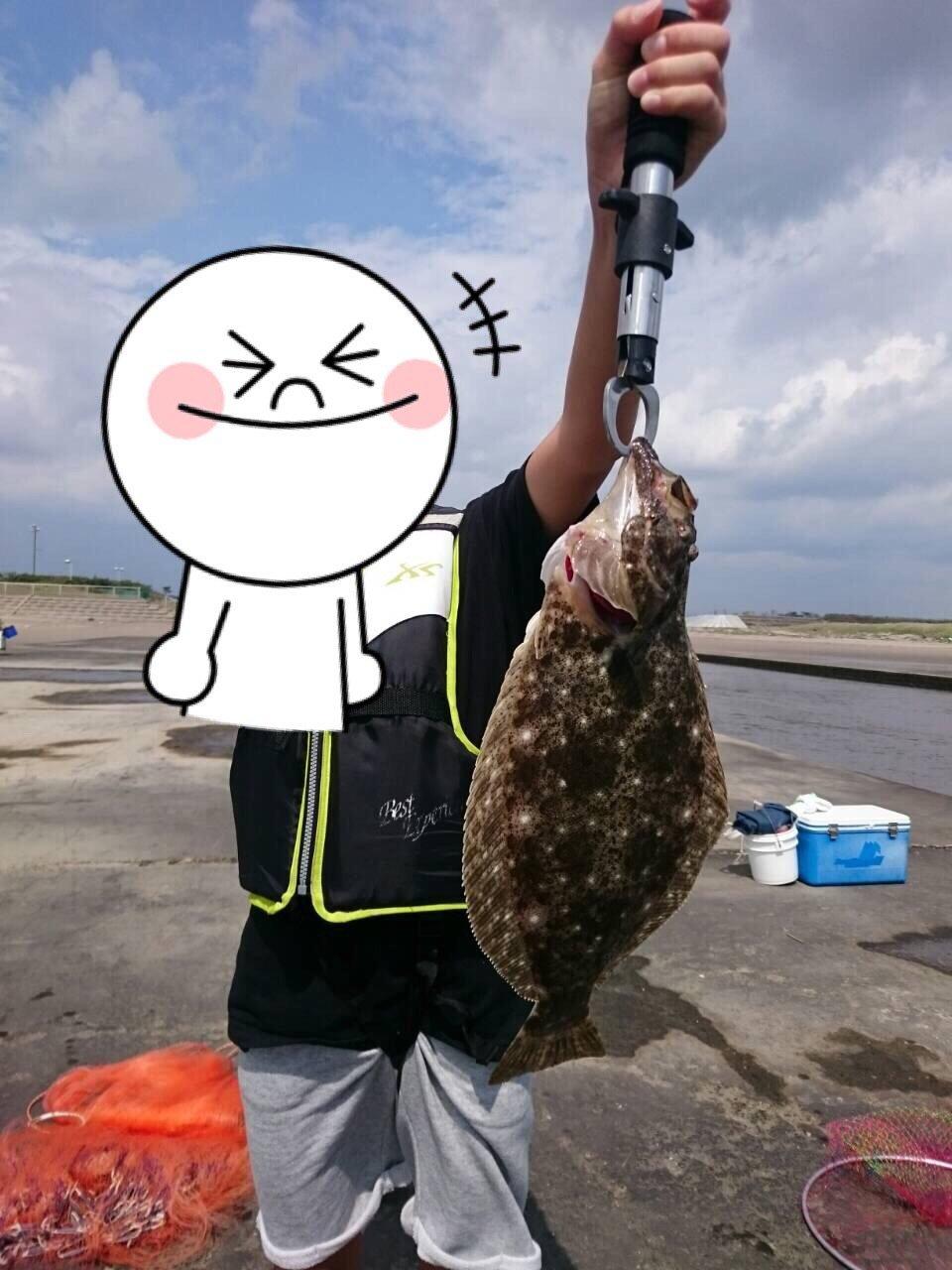 勝也さんの投稿画像,写っている魚はヒラメ